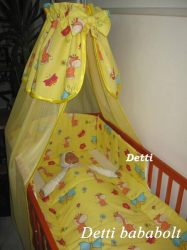 Zsiráf pillangóval (sárga) - bébi 4 részes baldachinos ágynemű szett