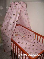 Maci szívecskével - bébi 4 részes baldachinos ágynemű szett