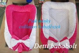 Fehér alapon rózsaszín csillagos - Pink minky Babafészek