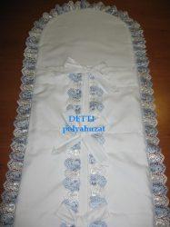 Pólyahuzat (kék - fehér madeira csipkés)