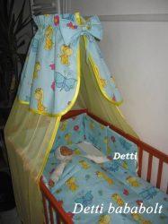 Zsiráf pillangóval (Kék) - bébi 4 részes baldachinos ágynemű szett
