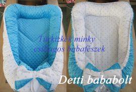 Fehér alapon kék csillagok - türkizkék minky Babafészek