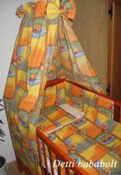 Ablakos maci - bébi 4 részes baldachinos ágynemű szett