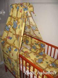 Rácsos maci - bébi 4 részes baldachinos ágynemű szett