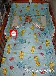 Bébi ágynemű szett 3 részes - Zsiráf pillangóval