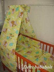 Alvós maci - bébi 4 részes baldachinos ágynemű szett